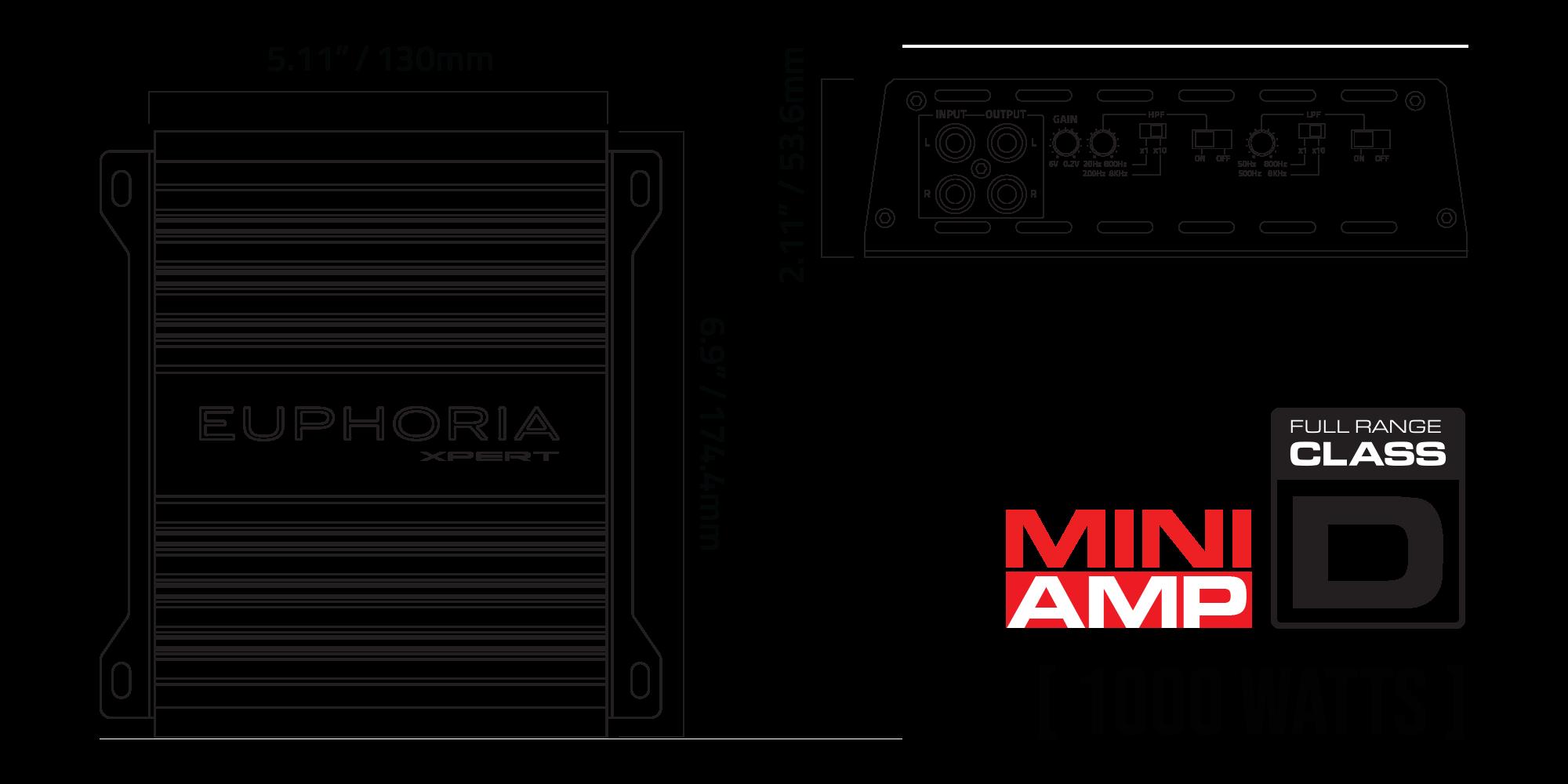 EX1K Monoblock Amplifier Mounting Dimensions