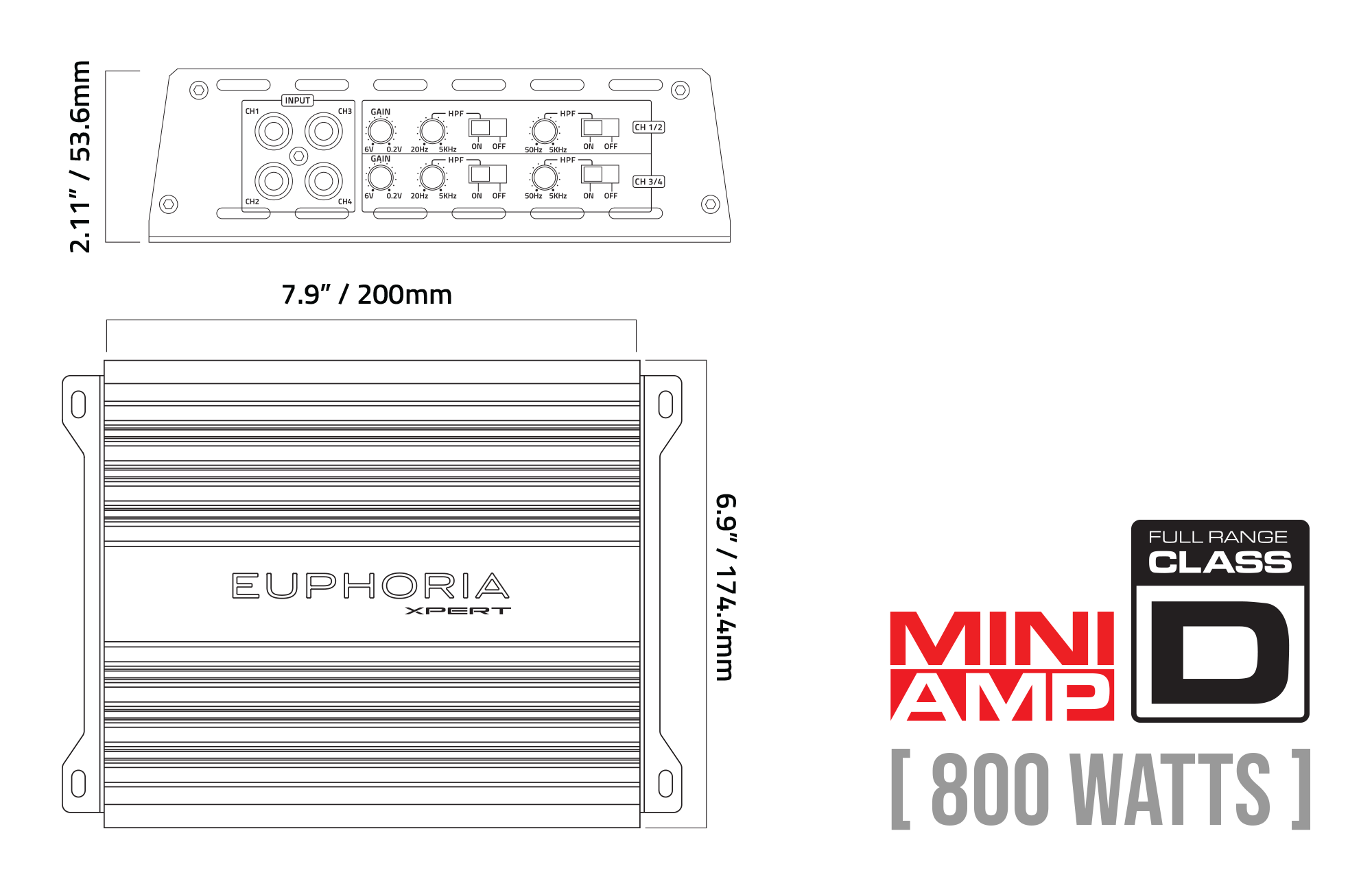 EX2K Monoblock Amplifier Mounting Dimensions